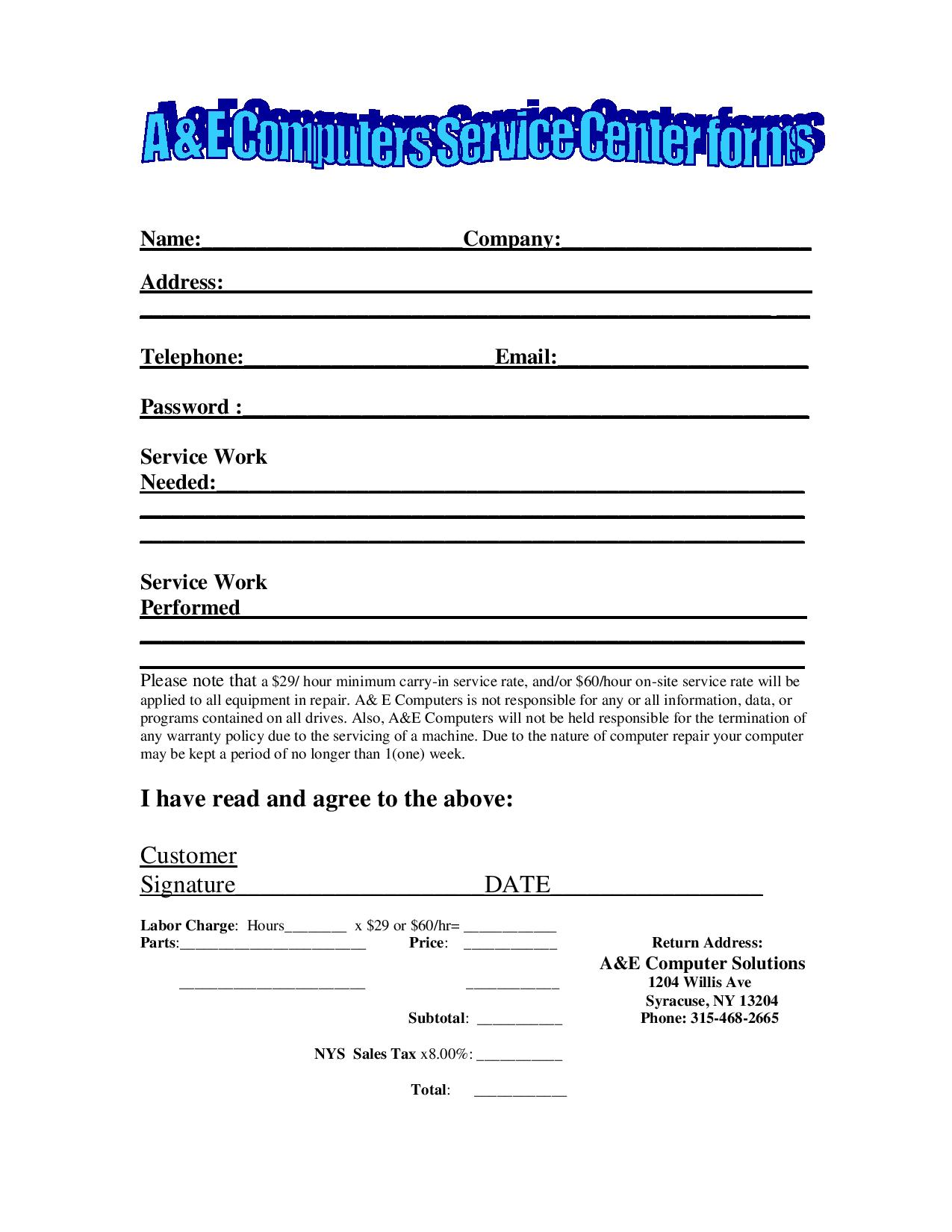 Service Form PDF Document